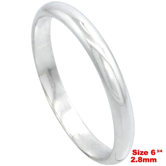 Italy 14k white gold layered on.925 silver high polished wedding band ring 2.8mm Size 6.75