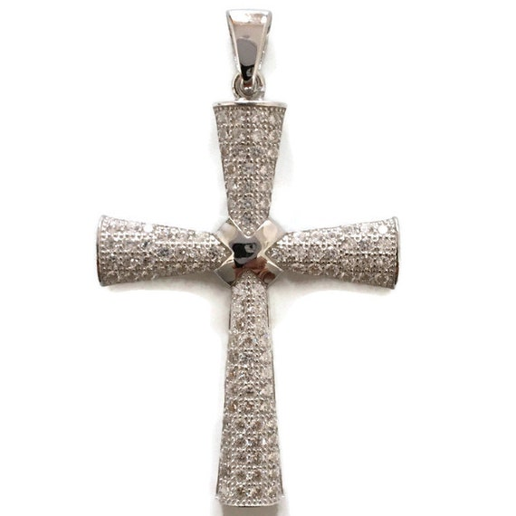 White Gold layer Silver Pendant byzantine Cross & white round CZ