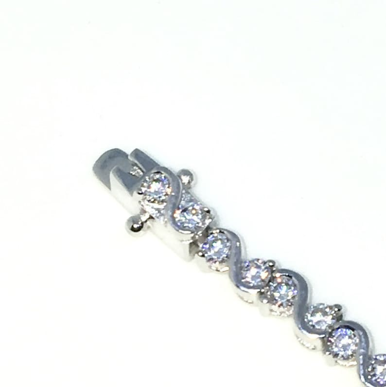 New White Gold Layered 925 Solid Sterling Silver 7 inch S design Round White CZ Tennis Bracelet with Box Clasp