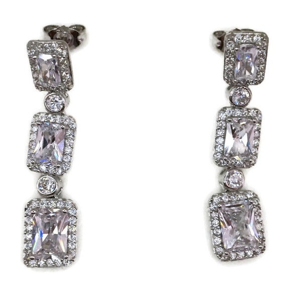 White gold on Silver dangle drop Earrings rows of white emerald CZ