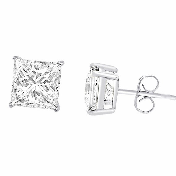 18k Layered Sterling Silver 1ct CZ Princess /Square Cut Unisex Basket Setting Stud Earring