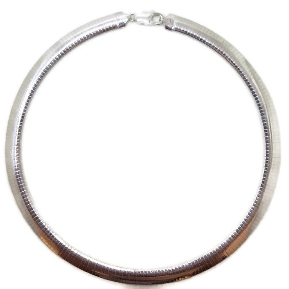 Brand New Anti-Tarnish 925 Sterling Silver Necklace 16 inch Large One-sided Omega Chain with Lobsterclaw Clasp ( 7 . 7 mm  )