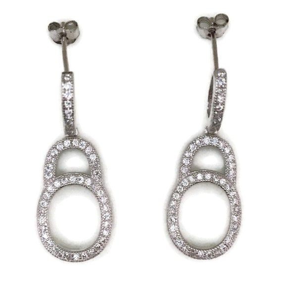 White gold on Silver dangle drop Earrings circles & white round CZ