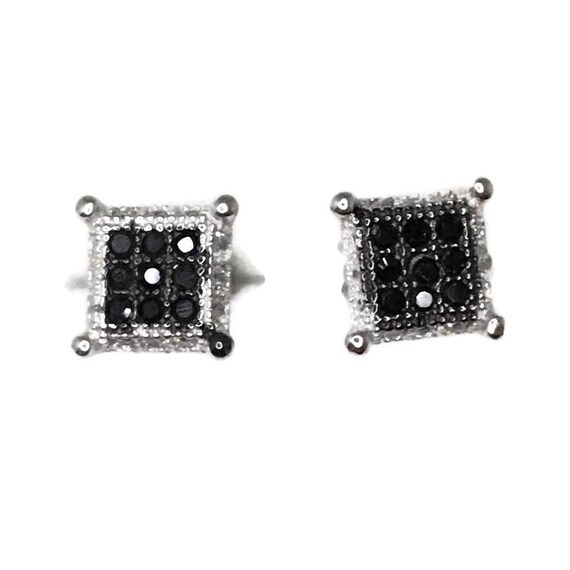Brand New white gold on 925 Silver Studs Earrings Small Square with white round CZ and Nine black CZ ( 6 . 3 mm )