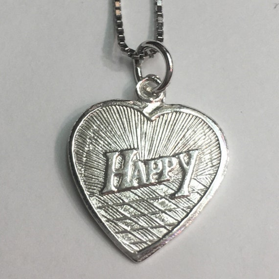 """New 925 Silver Chinese Character Writing """"Love"""" &  Happy Heart Charm Pendant Reversible Design"""