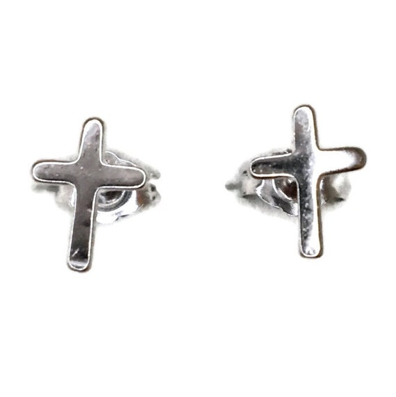 Brand New white gold on 925 Silver Studs Earrings Small Smooth Cross ( 6 . 6 mm )