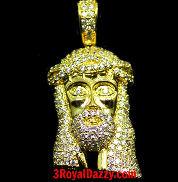 Details about  New Mens Hip Hop Iced Out 3D Jesus Face Yellow gold layer on 925 Silver Charm