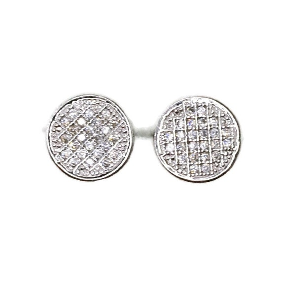 Brand New white gold on 925 Silver Studs Earrings Medium circle with white round CZ ( 10 . 2 mm )