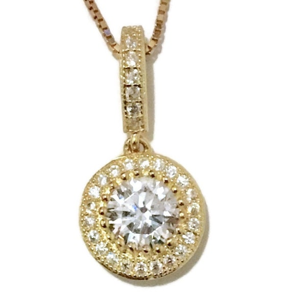 Brand New Yellow Gold on 925 Sterling Silver Pendant Hanging round white CZ with free chain ( 9 . 7 mm )