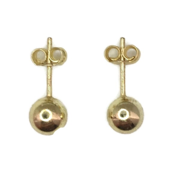 Brand New Yellow gold on 925 Silver Studs Earrings small smooth sphere ball ( 5 . 9 mm )