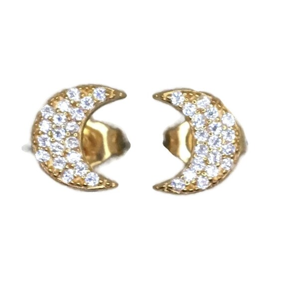 Brand New Yellow gold on 925 Silver Studs Earrings Crescent moon with round white CZ ( 6 . 5 mm )