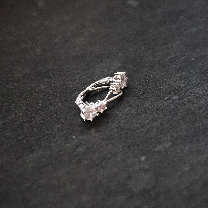 6 . 0 mm New 14k White Gold on 925 Sterling Silver Cute Double CZ Geometric Earrings