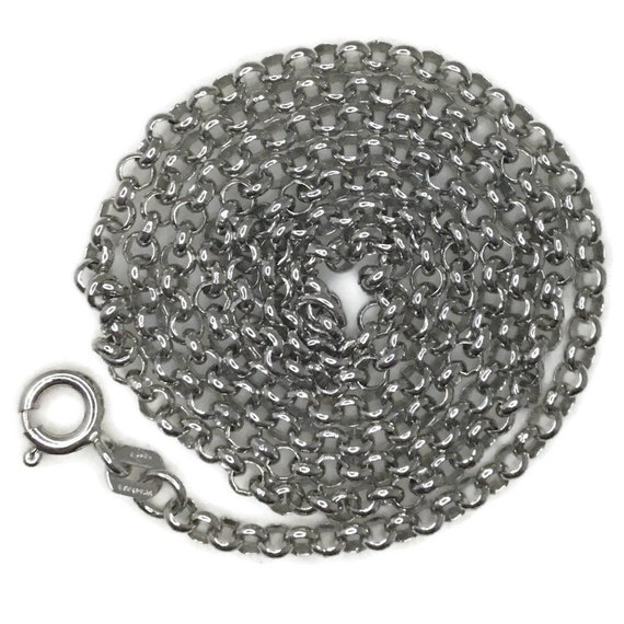 White gold layer on silver necklace round rolo chain 20 inch