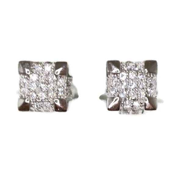 Brand New white gold on 925 Silver Studs Earrings Small Cube with white round CZ ( 7 . 4 mm )