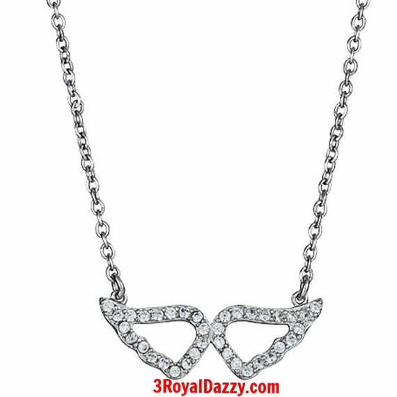 "925 Silver Layer with White Gold on White CZ Womens Angel Wing Pendant Necklace - 16"" 18"" inches"