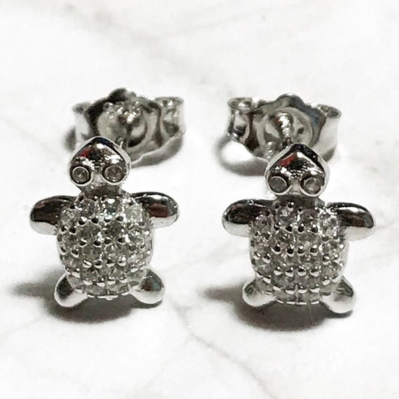 NEW 14K White Gold Layered on Sterling Silver Sea Turtle Earrings