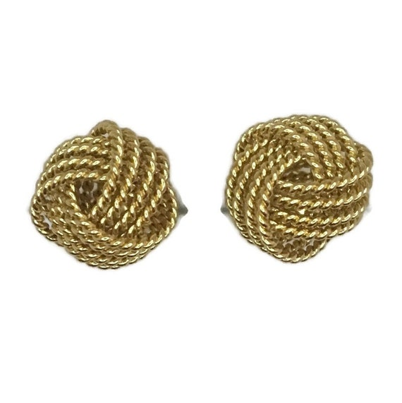 Brand New Yellow gold on 925 Silver Studs Earrings Small 4 twisted layer knot ball ( 9 . 5 mm )