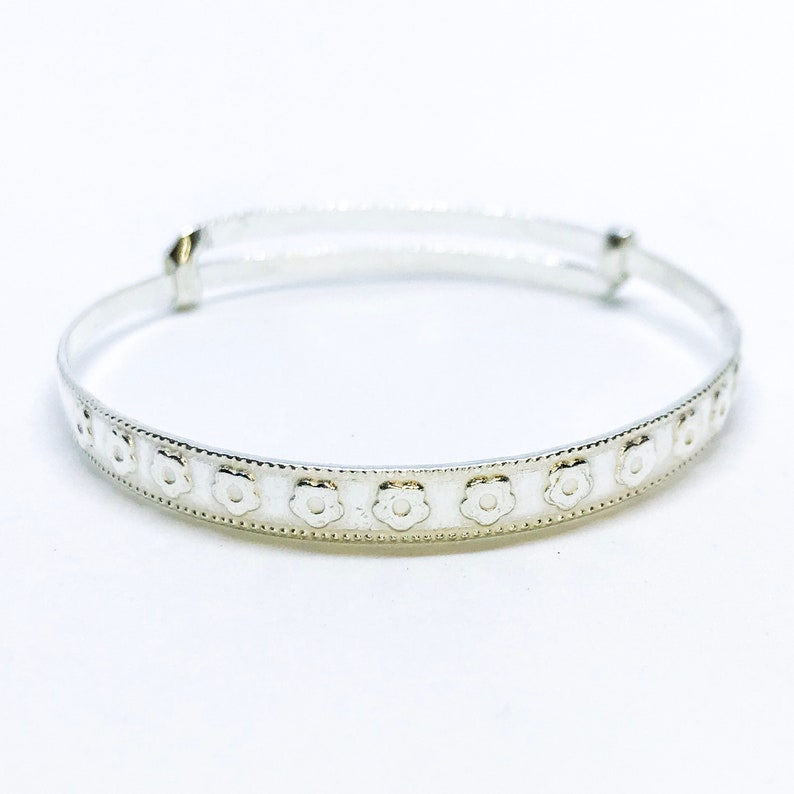 3 Year Olds Bangle Bracelet NEW 14K White Gold Layered on Fine .990 Sterling Silver Adjustable Handmade Flower Design Newborn