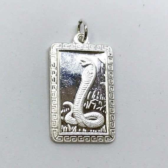 NEW .990 Sterling Silver Year of the Snake Rectangular Lucky Pendant