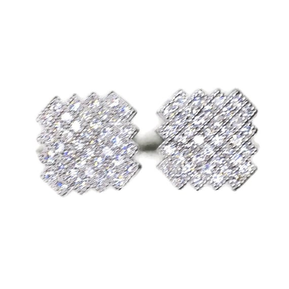 Brand New white gold on 925 Silver Studs Earrings Zigzag edge Square with white round CZ ( 10 . 5 mm )