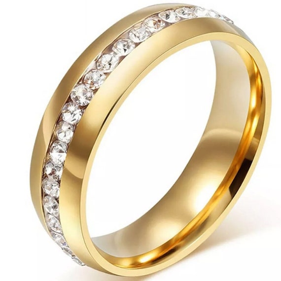 6mm Yellow Gold plated on Stainless Steel eternity CZ unisex Ring wedding Band