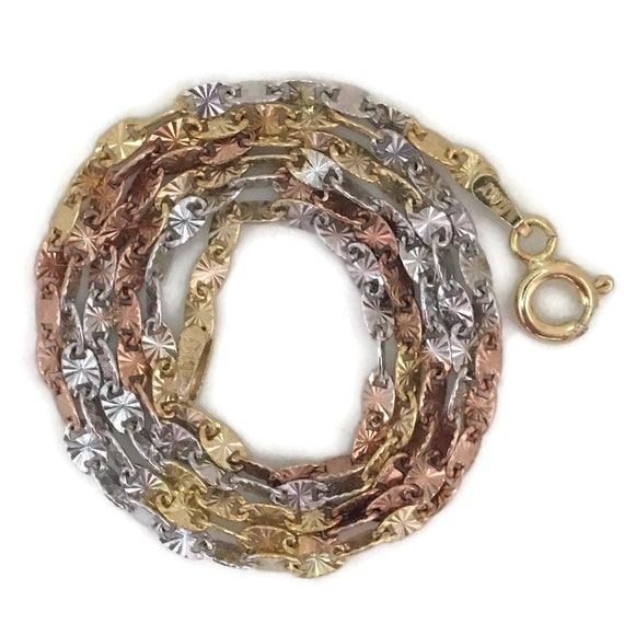 """Three tone gold layer on silver necklace oval link chain 18"""""""