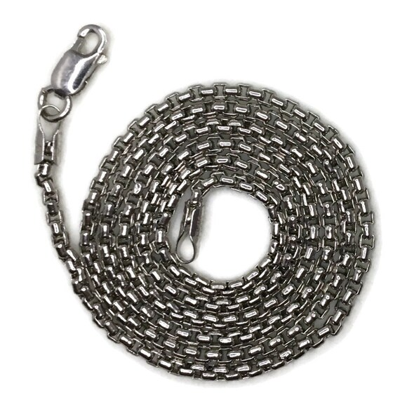 Brand New White Gold on 925 Sterling Silver Necklace 16 inch Round Box chain with Lobsterclaw Clasp ( 1 . 5 mm )
