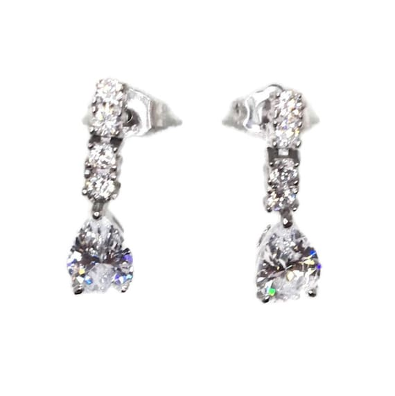 Brand New white gold on 925 Silver Studs Earrings Hanging design with white round and Pear CZ ( 5 . 1 mm )