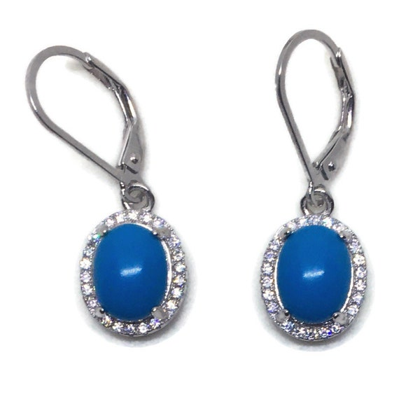 White gold on Silver dangle drop oval Earrings white CZ & blue stone