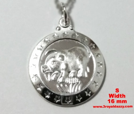 Small Chinese Zodiac Horoscope 999 fine Silver Round Year of Boar / Pig Pendant charm