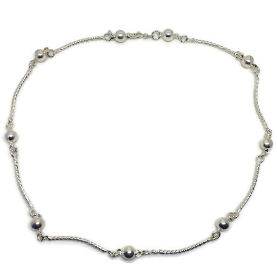 Anti-Tarnish 925 Silver choker necklace with twisted bars and spheres