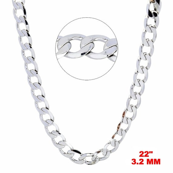 14k White gold Layer on Solid 925 Sterling Silver Curb Chain- 3.2 mm- 22""
