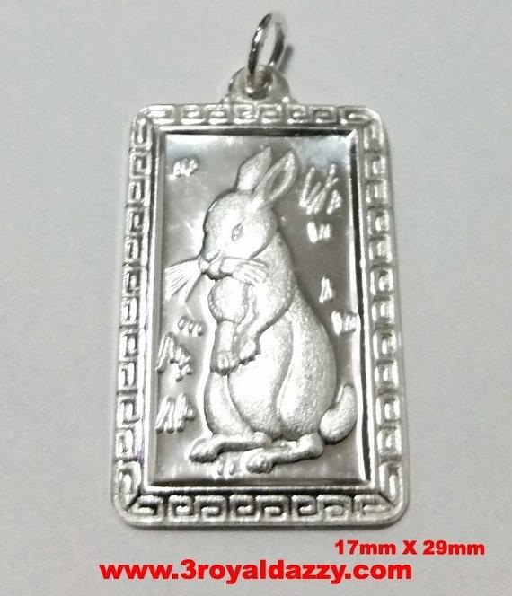 Chinese zodiac horoscope 999 fine silver rectangle year of rabbit pendant charm