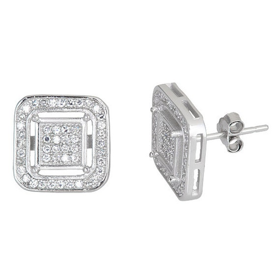 Round Square .925 Micro Pave CZ Sterling Silver Stud Earrings