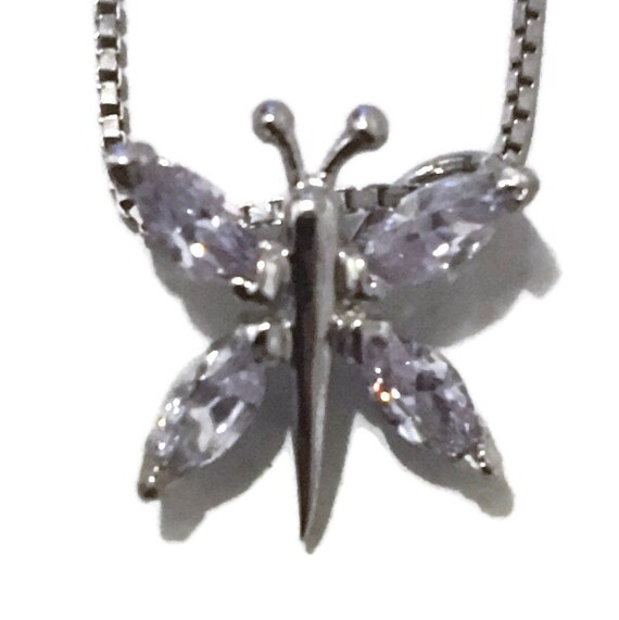 Brand New White Gold on 925 Sterling Silver Pendant Butterfly with small white marquise CZ with free chain ( 12 . 5 mm )