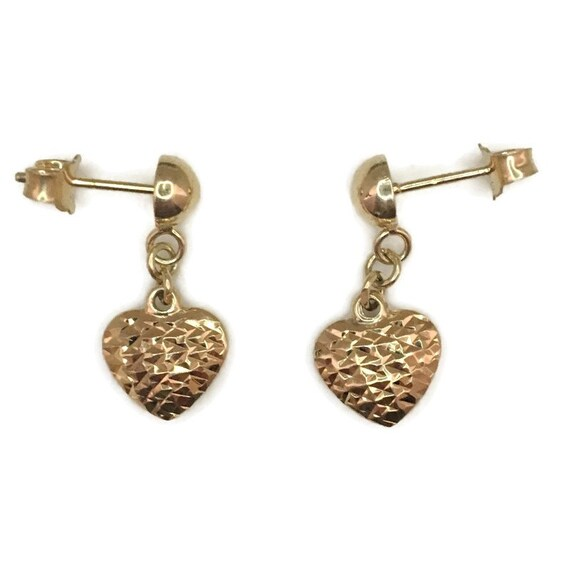Brand New Yellow gold on 925 Silver dangle drop Earrings Heart with diamond cut design ( 10 . 7 mm )