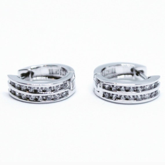 Tiny 14K White Gold on Sterling Silver Hoops Earrings
