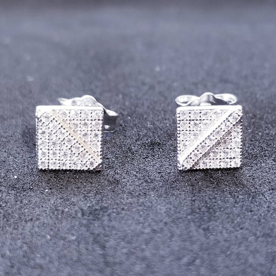 New 14K White Gold on 925 Sterling Silver Small Square Cut CZ Stones Earrings
