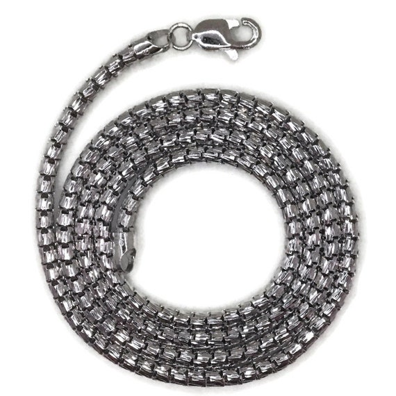 White gold layer on silver necklace hollow round snake chain 18 inch