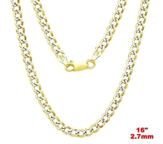 "Italian diamond cut 14k white & yellow gold layered over 925 silver- 2.7mm curb chain 16"""