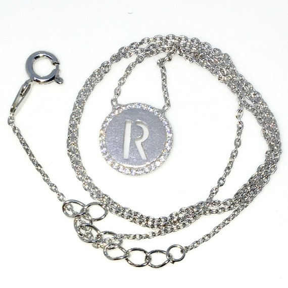 New White Gold Layered 925 Solid Sterling Silver 16 inch R circle CZ Cable Chain Necklace with springring clasp and Extension