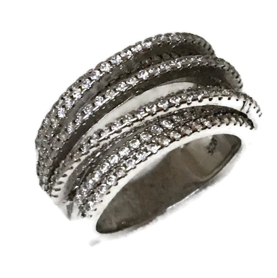 Brand New White Gold on 925 Sterling Silver Ring Two Level of Layers of round white CZ ( size 6 )