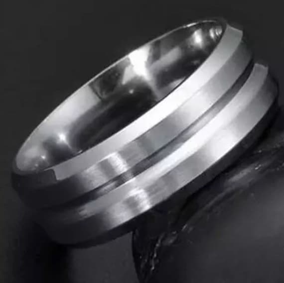 8mm Size 7 white Gold plated on Stainless Steel wide unisex Ring Band