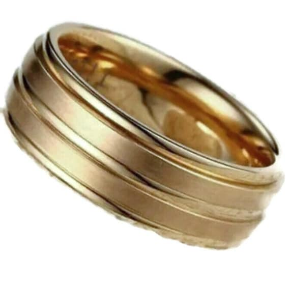 8mm Yellow Gold plated on Stainless Steel wide confort fit unisex Ring wedding Band