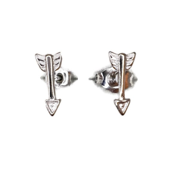 Brand New white gold on 925 Silver Studs Earrings Cute litte Shooting Arrow ( 4 . 0 mm )