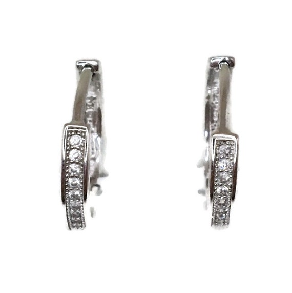 Brand New white gold on 925 Silver Hoop Earrings One sided Small round with white round CZ ( 16 . 2 mm )