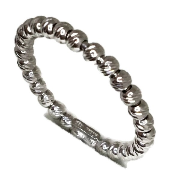 Brand New White Gold on 925 Sterling Silver Ring Band diamond beads style and size 7 ( 2 . 4 mm  )
