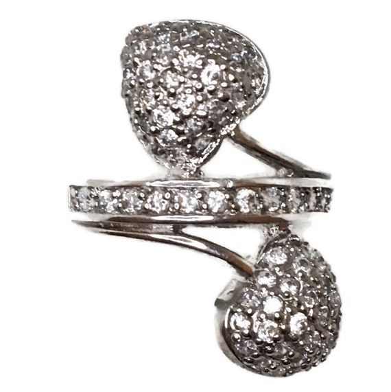 Brand New White Gold on 925 Sterling Silver Ring Band double branching Hearts with round white CZ ( size 7 )