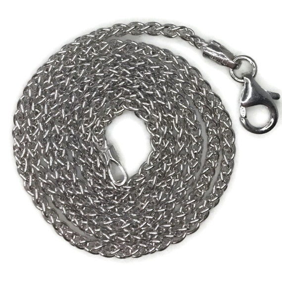 White gold layer on silver necklace small spiga chain 16 inch