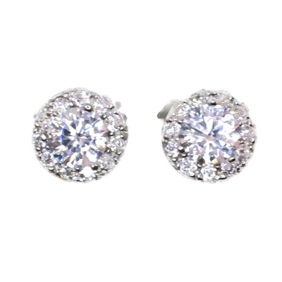 Brand New white gold on 925 Silver Studs Earrings Circle with Big and Small white round CZ ( 8 . 2 mm )
